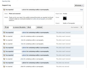 Screenshot of FB support dashboard showing amount of times the picture was reported.
